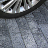 Cobblestone pavers made of concrete covering driveway
