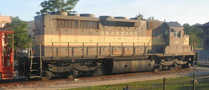 Seaboard Air Line 1114, an EMD SDP35 diesel-electric locomotive, on static display in front of the Hamlet, NC Amtrak station.