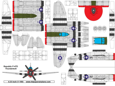 4D model template of Republic P-47D Thunderbolt