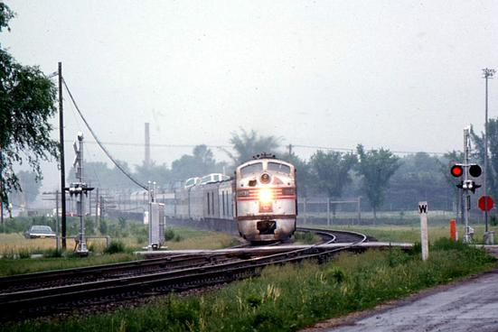 The Burlington Zephyr at Prairie du Chien during its last full year of service, 1970.