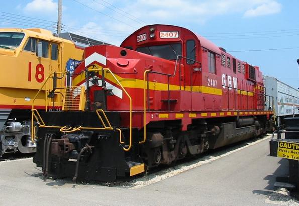 Green Bay and Western Railroad 2407, an ALCO RSD-15, at the Illinois Railway Museum.