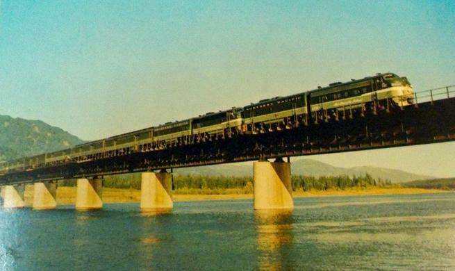 Postcard photo of the Northern Pacific's North Coast Limited in Montana.