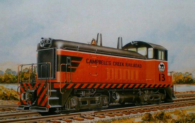 An Electro-Motive artist's rendering of Campbell's Creek Railroad EMD SW-9 No. 13.