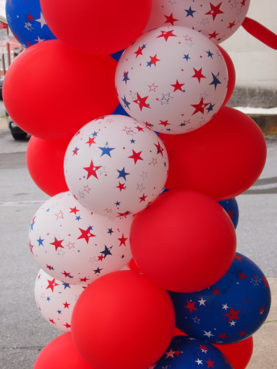 red, white and blue balloons