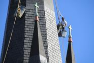 installing faux slate on steeple