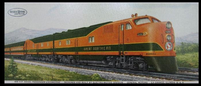 Great Northern EMD E-7 No. 500 builders portrait.