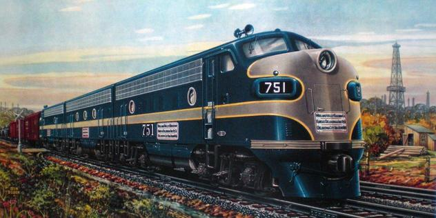 GM builder's portrait of KO&G EMD F7 diesel locomotive No. 751.