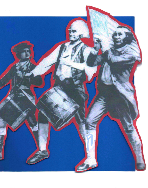 fife and drums, Spirit of '76, cut out on red cutout on blue background