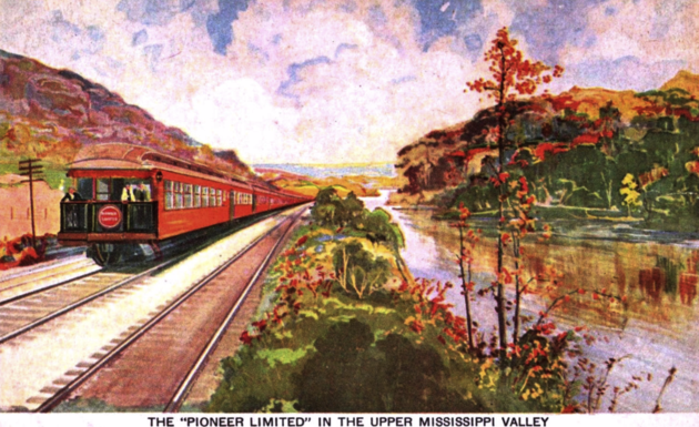 Postcard depiction of the Pioneer Limited in the Upper Mississippi Valley, ca. 1920s.