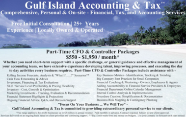 Postcard Image: Sanibel Florida - Part-Time CFO & Controller Packages, Rolling Income Forecasts, Cash Flow Forecasting & Advice, Investment and Financing and Tax Evaluations, SKU/Service Level Profitability and Pricing Flexibility, Inventory - Cost and Control and Optimization, Marketing Investments - Tracking and Evaluation and Recommendations, Financial Statement Highlights & Projections, Ongoing Financial Advice, Key Business Metrics - Identification and Tracking and Trending, Big Company Best Practices For Small Companies, Financial Coaching & Mentoring - Owner and Employees and Agents, Adding Accountability to Financial Service Providers & Employees, Financial Department Online Calendar Management, Internal Control Analysis & Implementation, Procedure Creation and Simplification and Documentation, Business Risk Mapping & Contingency Planning