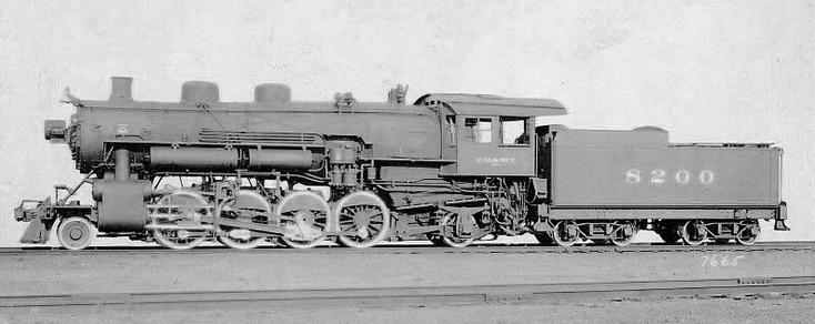 Baldwin Locomotive Works' photograph of L2-a No. 8200, later 500, construction no. 53596, Baldwin class 12-46-¼-E, 594; built August 1920, retired March 1953.