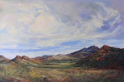 Open Range, a large plein air pastel of West Texas ranch land in summer. Lindy Cook Severns, Fort Davis TX
