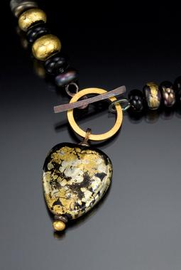 Carol Holaday - Heart of Gold - glass bead necklace