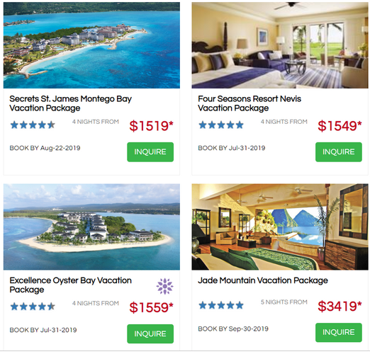 Caribbean honeymoon promo July 2019