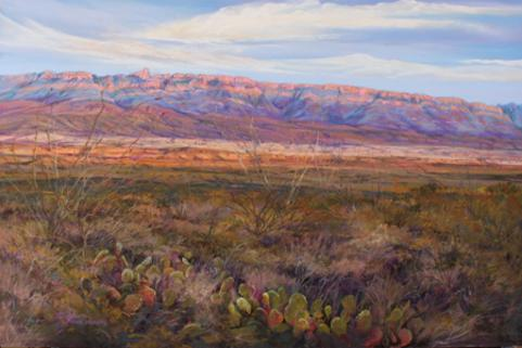 Infinitely Texas, a Big Bend National Park landscape painting by Texas artist Lindy Cook Severns. Sierra del Carmen and cactus