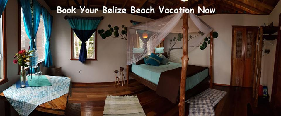 Picture your Belize beach vacation inside this hand-furnished bungalow. Each piece is hand crafted from wood that has drifted in the Caribbean Sea and washed up on our beach. The finishing touches are splashed in colors of turquoise and gold.