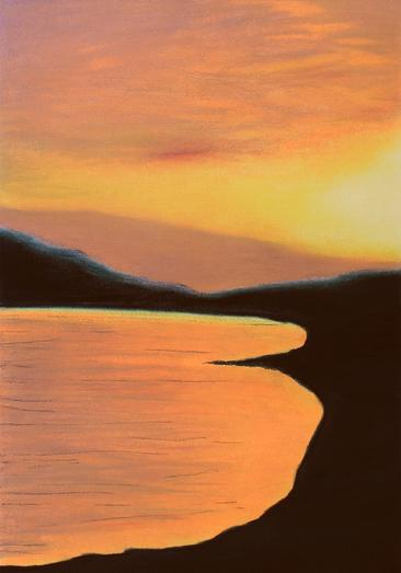 Orange Yellow Sunset 2020. Chalk Pastel Drawing on Paper. Original Landscape Drawing by Orfhlaith Egan | A Soft Day