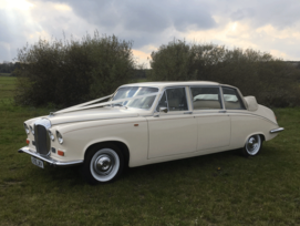 Daimler Landaulette 7 passenger limousine white wedding car - Essex wedding Cars