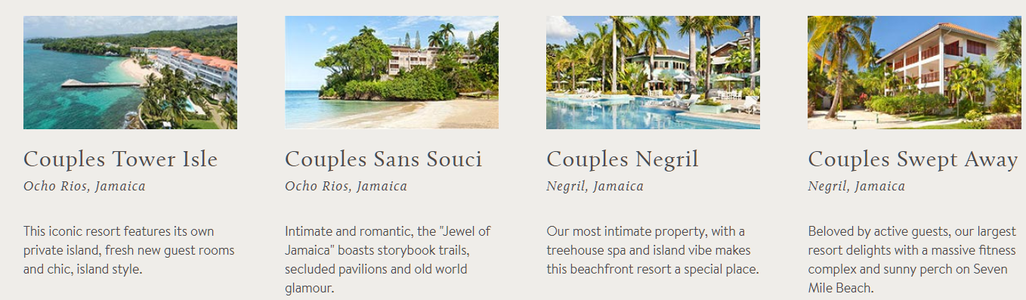 couples tower islse, couples sans souci, couples negril, couples swept away