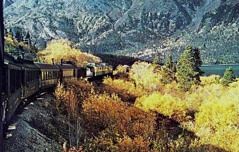 A postcard photo of the narrow gauge White Pass and Yukon Railroad.
