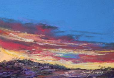 "Sky Spun Color, original miniature pastel painting by Lindy C Severns. 5"" x 7"" sunset in West Texas"
