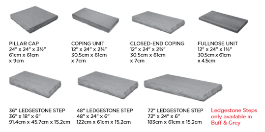 Ledgestone Pillar Caps, Steps, Coping & Fullnose Sizes and Dimensions
