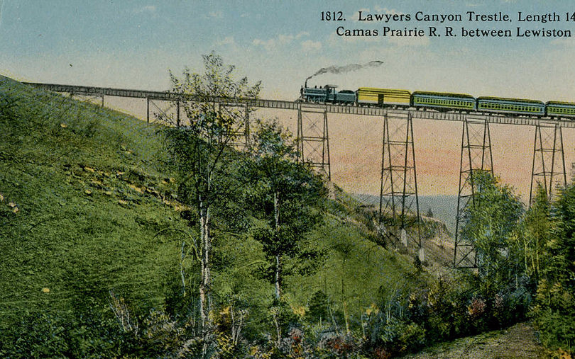 Postcard depiction of Lawyers Canyon Trestle on the Camas Prairie Railroad.