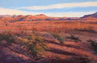 Big Bend National Park at sunset, large pastel landscape painting Ribbons of Sunset by Lindy C Severns