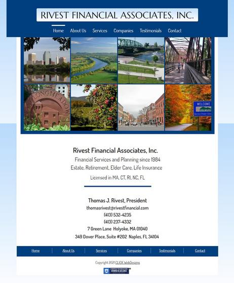 Rivest Financial Associates website designed by CLICK WebDesigns