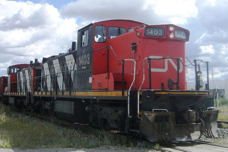 Canadian National freight train CN 7331 led by GMD-1 No. 1403.