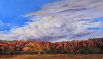 Old Texas Giant, pastel landscape painting by Lindy C Severns, rock palisades and golden cottonwood
