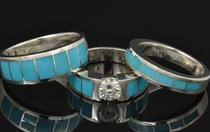 Turquoise engagement ring and wedding ring set