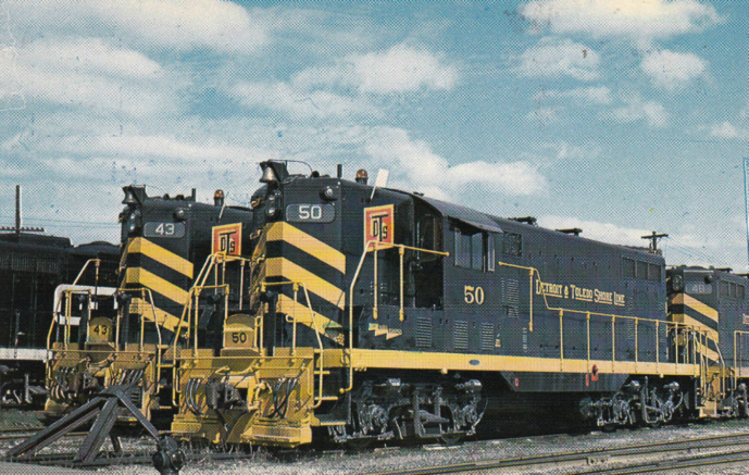 Detroit and Toledo Shore Line General Motors EMD GP7s in the yard at Toledo, Ohio, April 25, 1971. Photo by Carl Sturner.