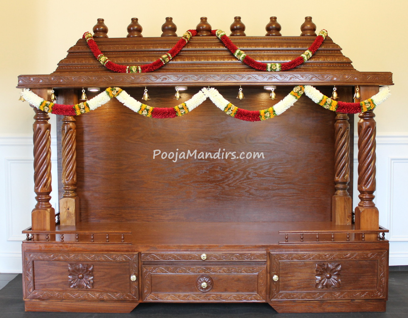 Stunning wooden pooja mandir designs for home pictures for Home mandir designs marble