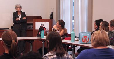Marlene Trestman speaks to students at Catholic University Law School