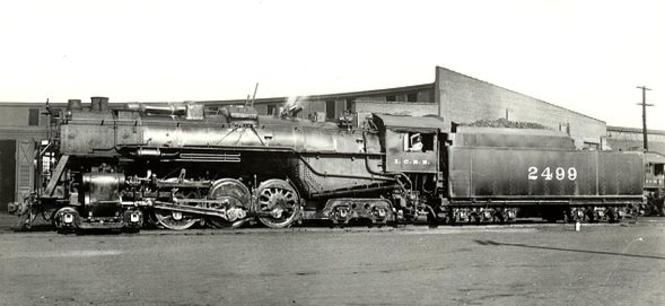 The Illinois Central Railroad's sole 4-6-4 Hudson type steam locomotive, originally Illinois Central No. 1 and later No. 2499.