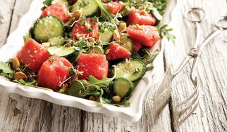 minty watermelon and cucumber salad