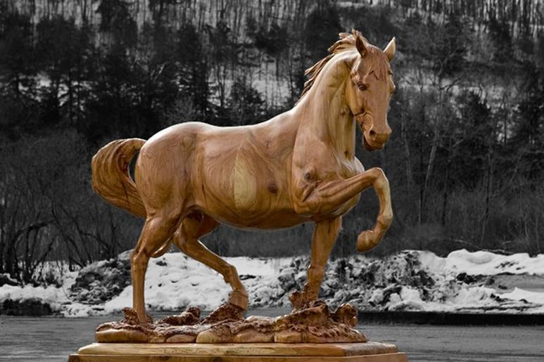 Wood carvings for sale. Horse art. Wood horse. Life sized horse wood sculpture for sale. Gig Harbor, WA custom wood carver.