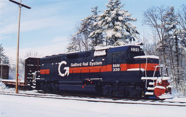 An EMD GP40 at the Wells Industrial Park in Wells, Maine, adjacent to the mainline of Guilford Rail System (formerly the Boston and Maine Railroad).