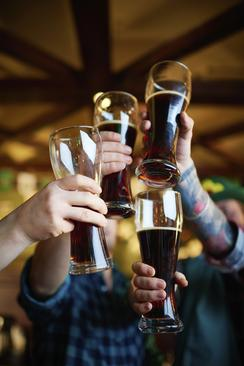 Image of four people raising beer glasses to cheers