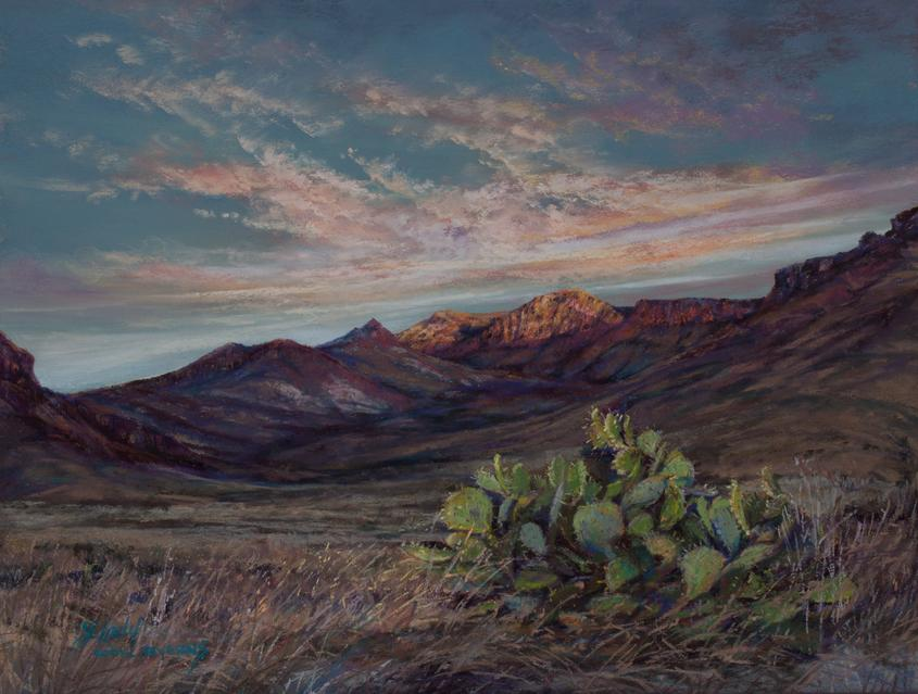 "Big Bend National Park sunrise painting by Lindy C Severns ""Beginnings"""