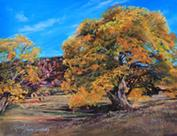Cottonwoods at Old Fort Davis, pastel landscape painting by Lindy C Severns