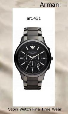 Watch Information Brand, Seller, or Collection Name Emporio Armani Model number AR1451 Part Number AR1451 Model Year 2012 Item Shape Round Dial window material type Mineral Display Type Analog Clasp deployant-buckle Case material Ceramic Case diameter 47 millimeters Case Thickness 12.5 millimeters Band Material Ceramic Band length Men's Standard Band width 24 millimeters Band Color Black Dial color Black Bezel material Ceramic Bezel function Stationary Calendar Date Special features Chronograph, measures-seconds Movement Analog quartz Water resistant depth 165 Feet,armani