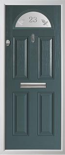 4 panel 1 arch composite door in grey