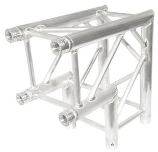 Aluminum 2 way 90 degree truss corner and connector.