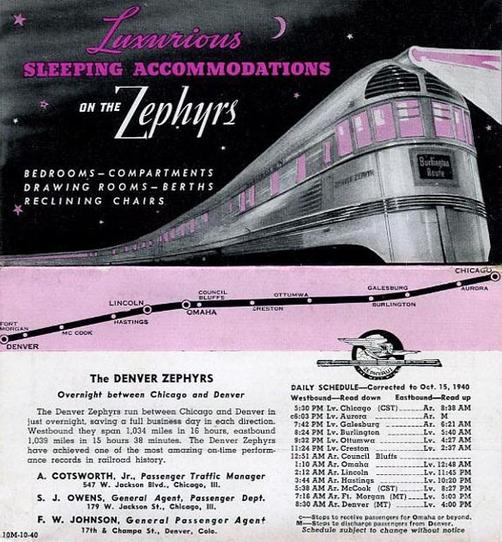 Denver Zephyr route map and timetable, circa 1940.