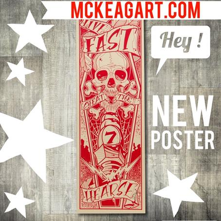 "12"" x 36"" Screen Printed Post ""Cheat the Hearse"" on #100 lb stock"