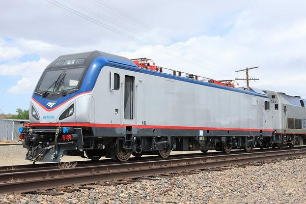 Amtrak 601, a Siemens ACS-64, awaits delivery to the Transportation Test Center at Avondale, CO, on 8 Jun 2013.