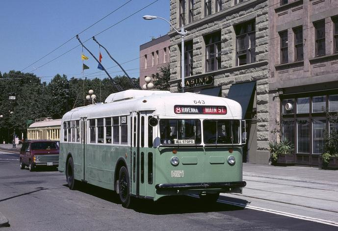 A preserved Seattle 1940 Twin Coach trolleybus.