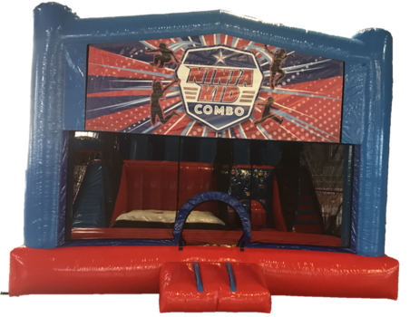 free fall rock wall bounce house slide ninja warrior
